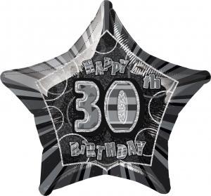 folieballong Födelsedag Stjärna Svart 30