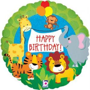 safari vänner happy birthday heliumballong