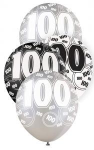 """100 svart glitter Latexballonger 12"""""""