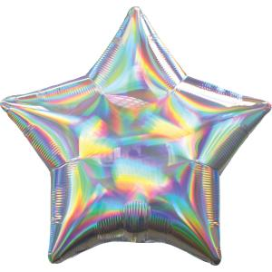 Folie ballong satin Stjärna Holografisk silver