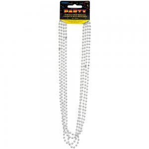 Silver metallic pärlhalsband  80cm 4-pack