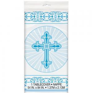 Dop med kors plast bordsduk blå