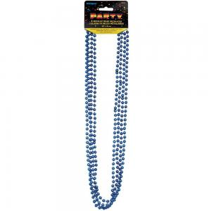 Blå metallic pärlhalsband  80cm 4-pack