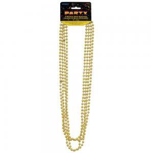 Guld metallic pärlhalsband  80cm 4-pack