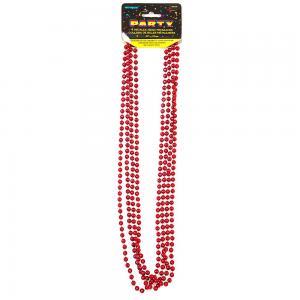 Röd metallic pärlhalsband  80cm 4-pack