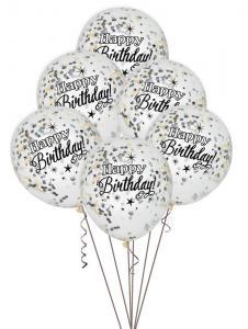 Latexballong konfettiballlong Happy birthday svart