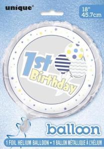 1st birthday helium ballong blå