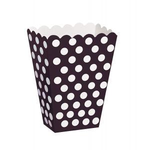 popcornbägare prickigt svart 8-pack