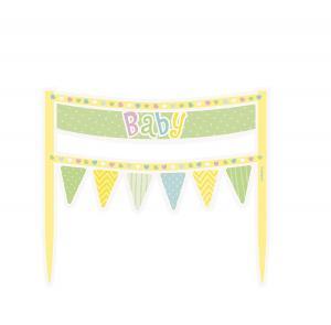 Baby shower tårtdekoration polka dot grön/gul