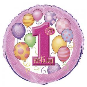 1st birthday heliumballong rosa