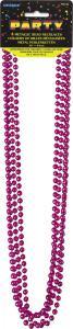 Rosa metallic pärlhalsband  80cm 4-pack