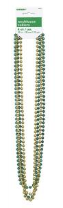 Guld & grön metallic pärlhalsband  80cm 4-pack
