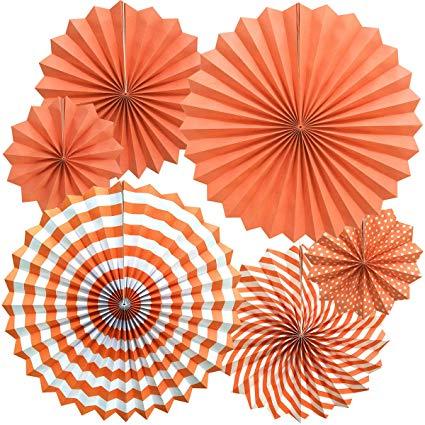 orange party pappersolfjäder 6pack