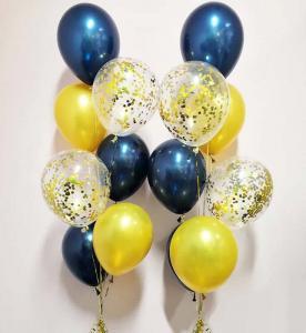 blågulkonfetti 7st latexballonger
