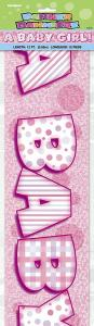 Babyshower Banner happy christening rosa