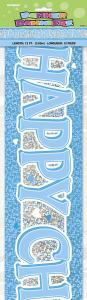 Babyshower Banner happy christening blå