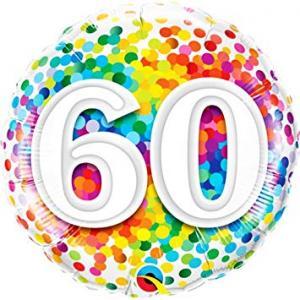 Folie ballong med konfetti motiv 60