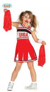 Cheerleader zombie dräkt för barn 7-9 år