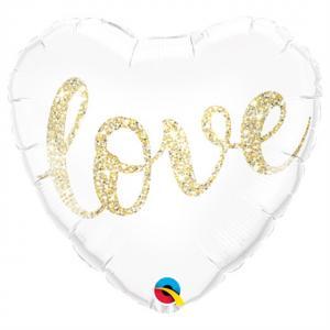 Hjärta Love Glitter Folieballong