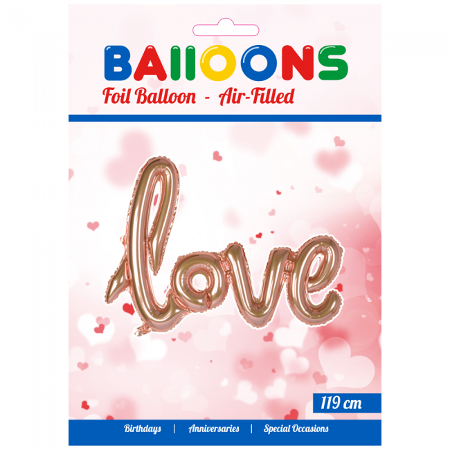 """Folieballong """"Love"""" Rose"""