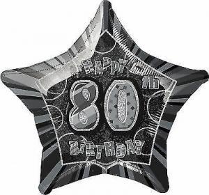 folieballong Födelsedag Stjärna Svart 80