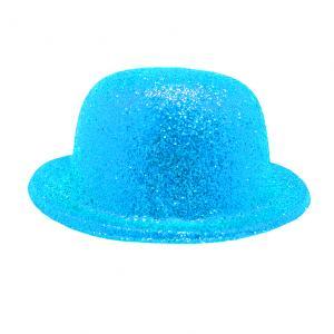 Glittrig Kubbhatt Neon ljusblå