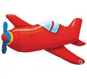 Heliumballong röd flygplan