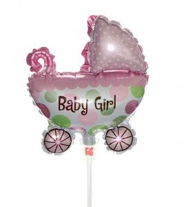 Mini ballong baby girl vagn på pinne