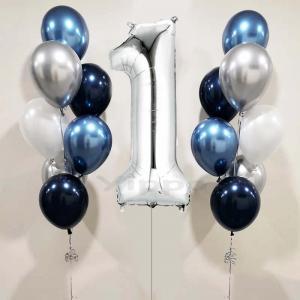 födelsedags ballongbukett lyxblå 2