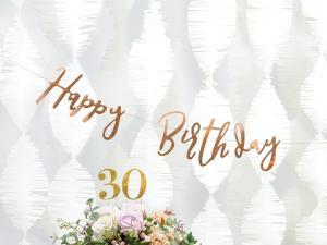 Banner Happy Birthday, rose gold,16.5x62cm