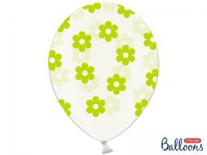 Latexballong Genomskinlig Blommor Grön 30cm