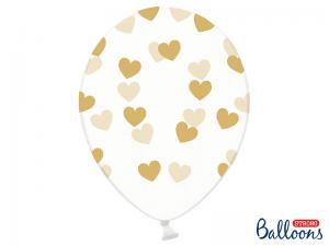 Latexballong Genomskinlig Guld Hjärtan 30cm