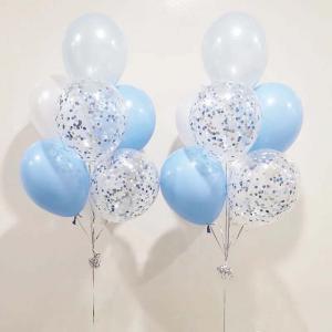 ljusblåkonfetti 7st latexballonger