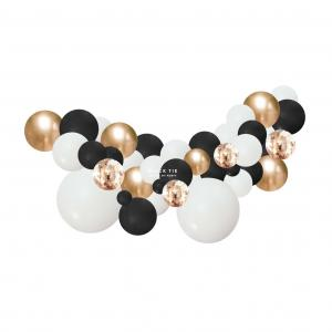 Organisk Ballonggirland Svart,vitt och guld