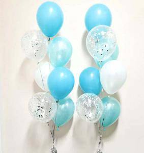 babyblåkonfetti 7st latexballonger