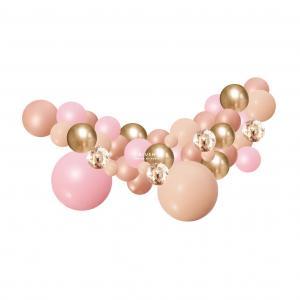 Organisk Ballonggirland Rose, blush & Guld