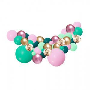 Organisk Ballonggirland Mint grön & Lila 2 meter