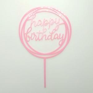 Tårtdekoration Happy Birthday Ljusrosa
