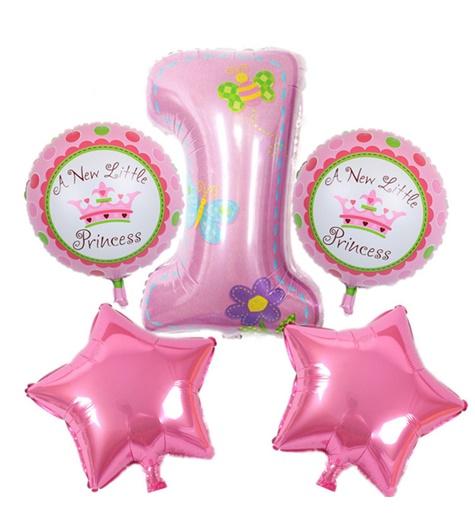 Rosa ballong bukett 1år