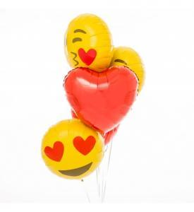 Alla hjärtans dag bukett med hjärtan och emojis