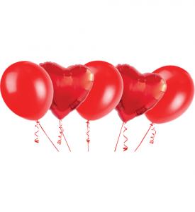 Ballongbukett, 2 Foliehjärtor & 3 Latexballonger Röd