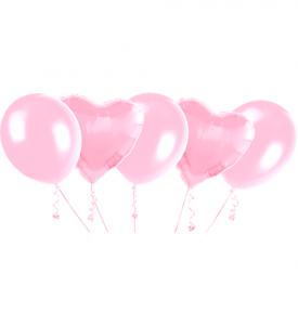 Ballongbukett, 2 Foliehjärtor och 3 latexballonger rosa