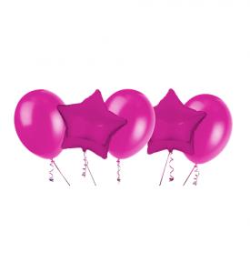 Ballongbukett,  2 Foliestjärnor & 3 Latexballonger Cerise Rosa
