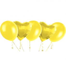 Ballongbukett, 2 Foliehjärtor & 3 Latexballonger Guld