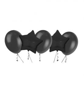 Ballongbukett, 2 Foliestjärnor & 3 Latexballonger Svart