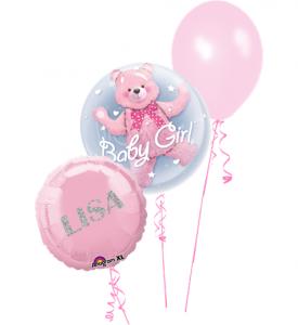 Ballongbukett Baby Girl Med Glitter Text