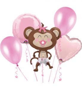 Ballongbukett Babyshower Apa Rosa inkl helium