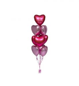 Ballongbukett med Rosa hjärtballonger inkl helium