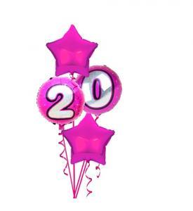 Ballongbukett Rosa med siffror 0-9 inkl Helium
