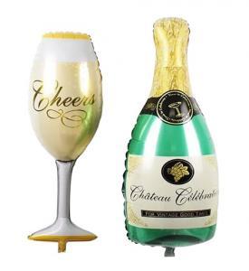 Champagneglas och flaska set